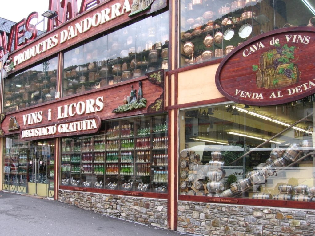 Alcohol shop in Ransol, Andorra. These shops are all over the country due to Andorra's VAT rate.