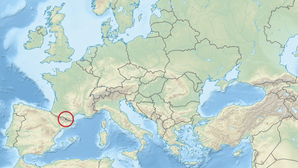Andorra's location in relation to Europe