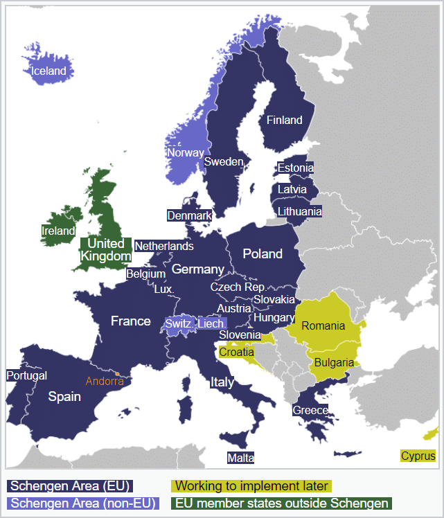 Andorra's location on the Schengen Agreement map