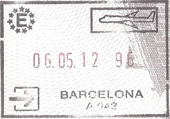 Barcelona passport stamp for the Schengen area