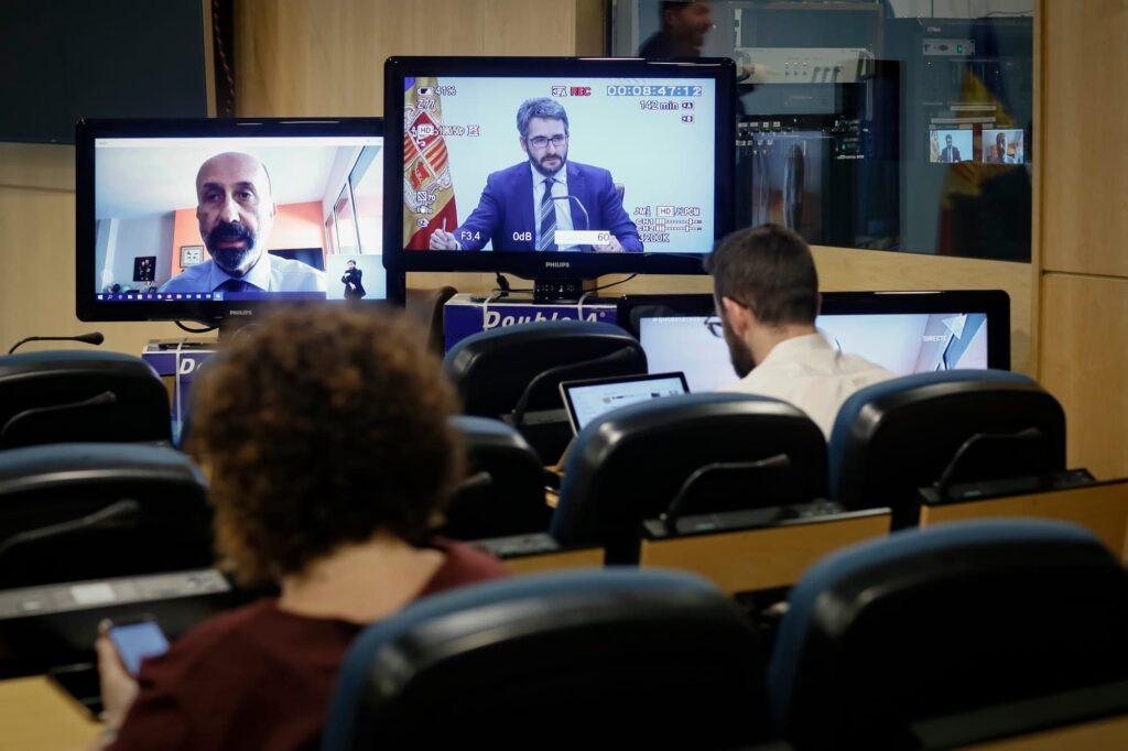 Andorra's health minister provides an update via webcam from home quarantine.